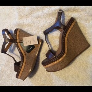 Zara Micro-studded Leather Wedge